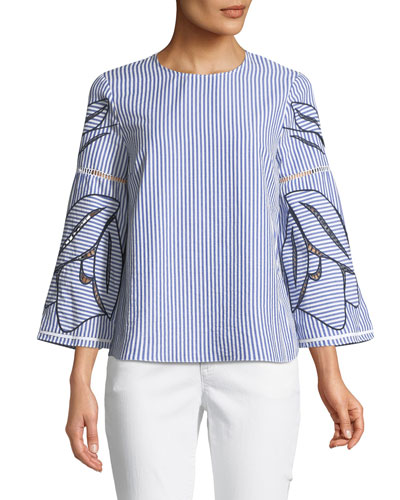 Martine Floral Embroidered 3/4-Sleeve Blouse