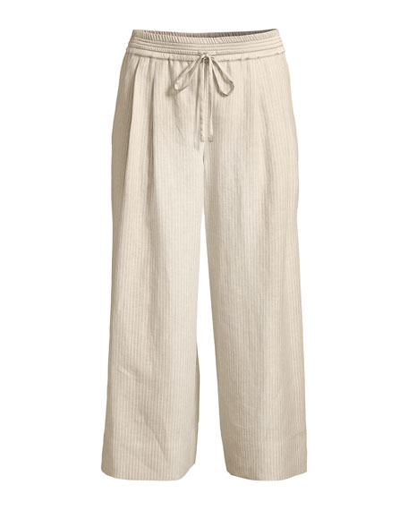 Reade Striped Wide-Leg Crop Pants