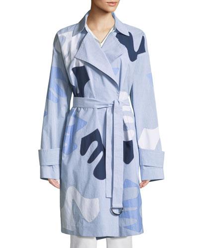 Laurita Sartorial Stripe Coat with Appliqués