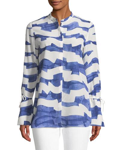 Desra Watercolor Waves Silk Blouse