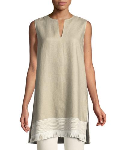 Chandelier Lavish Linen Tunic w/ Fringe Trim