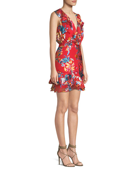 Cece V-Neck Sleeveless Floral-Print Ruffled Cocktail Dress