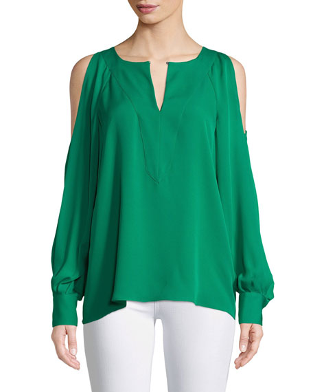 Wyatt Silk Cold-Shoulder Blouse in Luck