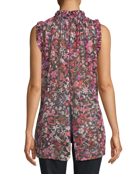 Lucy Floral-Print Silk Blouse
