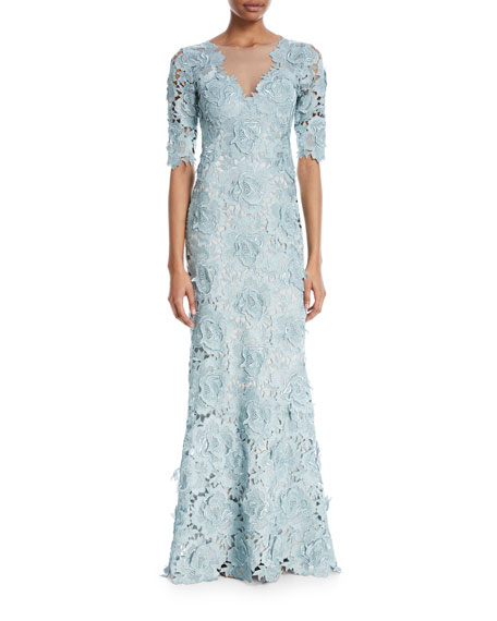 Catherine Deane KEETON ROSE LACE V-NECK 3/4-SLEEVE ILLUSION GOWN