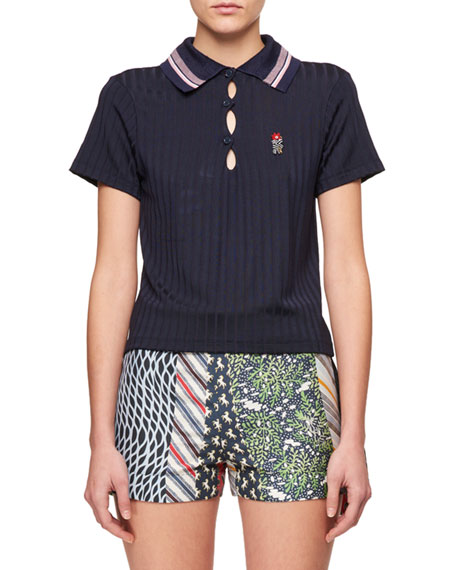 Shiny Ribbed Jersey Embroidered Knit Collar Polo