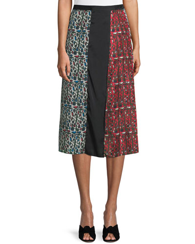Floral Birds Pleated Silk Midi Skirt