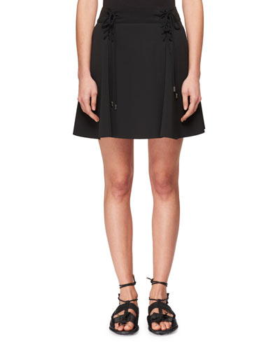 Lace-Up Flared Stretch-Crepe Mini Skirt