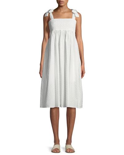 Lahaina Smocked Cotton Dobby Coverup Dress