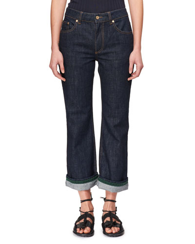 Flared Straight-Leg Jeans