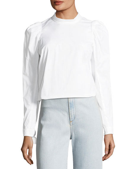 Isabel Button-Back Pouf-Sleeve Poplin Shirt