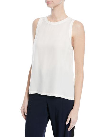 Mina Crewneck Sleeveless Cross-Back Silk Shell
