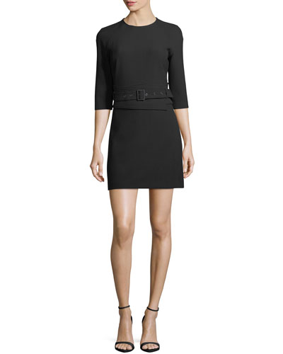 Nora 3/4-Sleeve Belted Crepe Short Dress