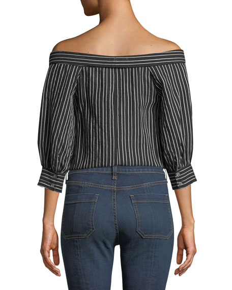 Britta Off-the-Shoulder Button-Front Striped Top