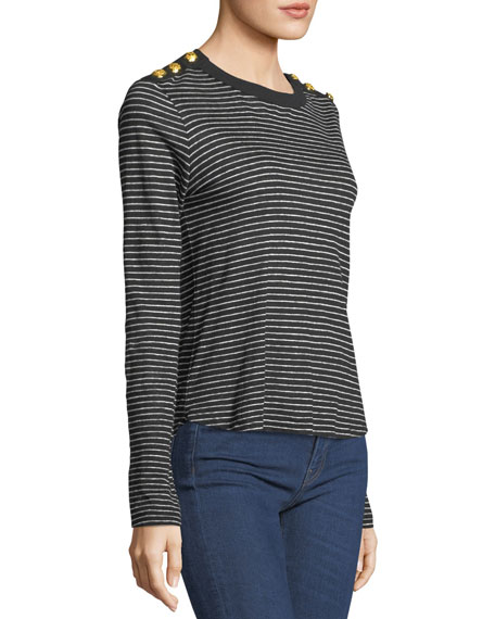 Brees Crewneck Long-Sleeve Striped Linen Top