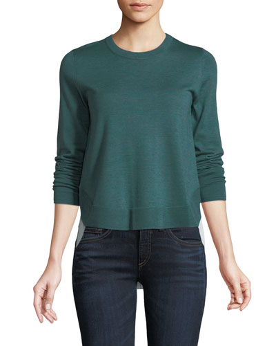 Alma Crewneck Wool Sweater with Shirting Insert