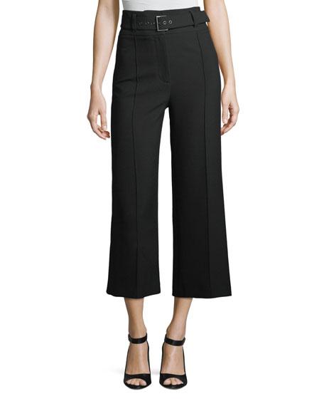 Veronica Beard  LYLA HIGH-WAIST WIDE-LEG CROP CREPE PANTS