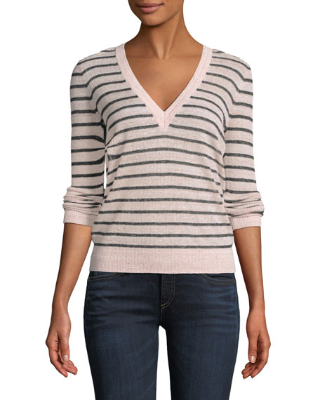 Dean V-Neck Striped Sweater