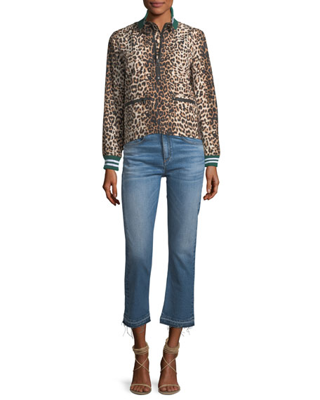 Ines Straight-Leg Girlfriend Jeans w/ Frayed Hem