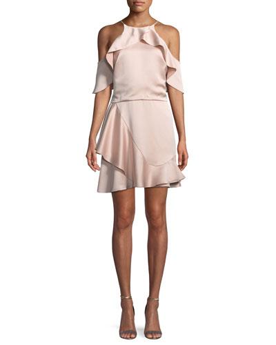 Flouncy Cold-Shoulder Halter Mini Dress