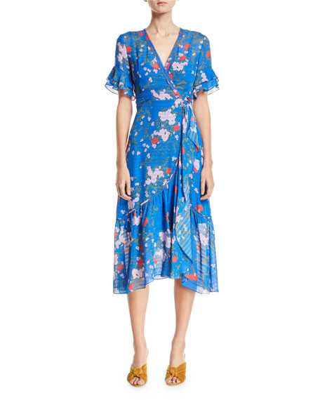 Blaire Falling Floral-Print Silk Wrap Dress