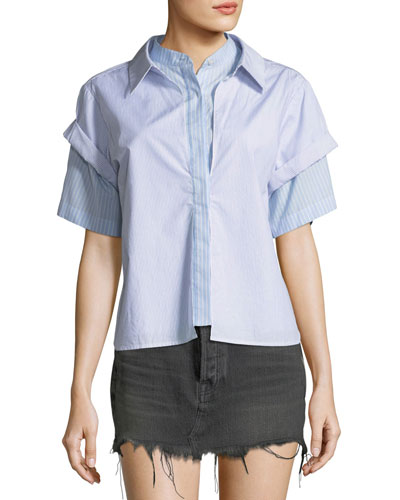 Combo Striped Short-Sleeve Layered Top