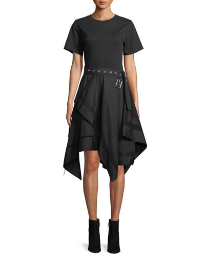 Short-Sleeve Belted Dress with Handkerchief Skirt