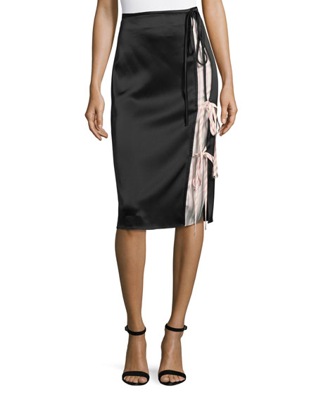 Heavy Draped Satin Skirt with Stripe Combo