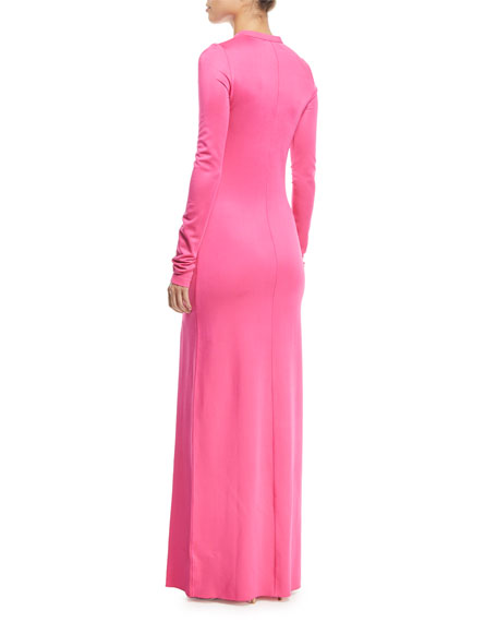 Fallon Crewneck Long-Sleeve Gown w/ High Slit