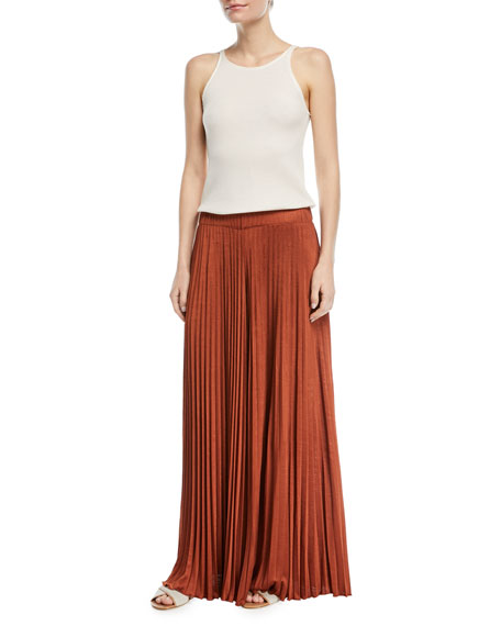 Noble Sunburst Pleated Wide-Leg Pants