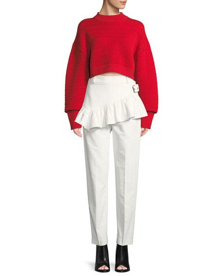 Ruffled Apron Straight-Leg Pants