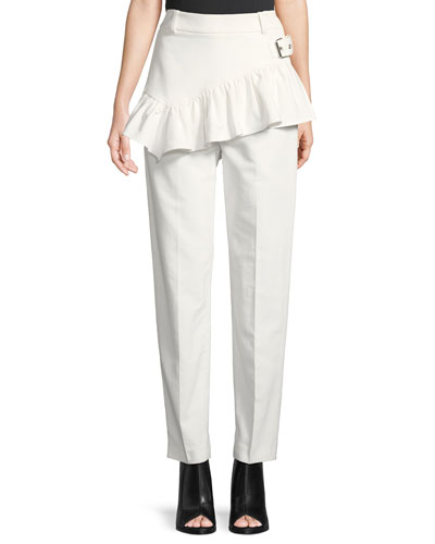 Ruffled Apron Straight-Leg Pants