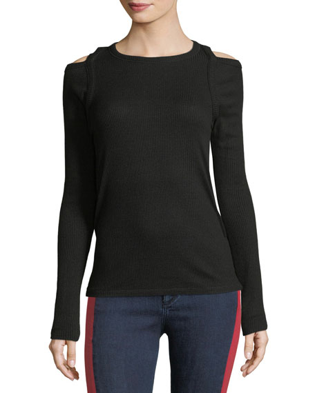 Rosalind Crewneck Long-Sleeve Rib-Knit Sweater