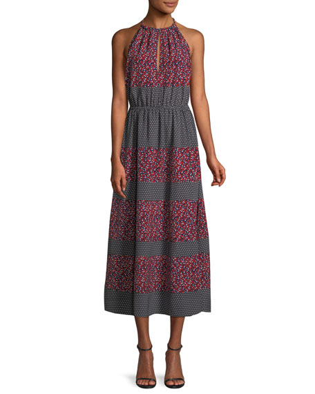 Image 1 of 1: Sleeveless Halter Mixed-Print Midi Dress