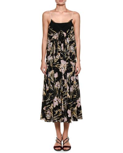 V-Neck Multicolored Silk Slip Dress