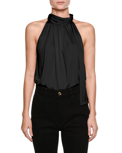 Mock-Neck Sleeveless Blouse