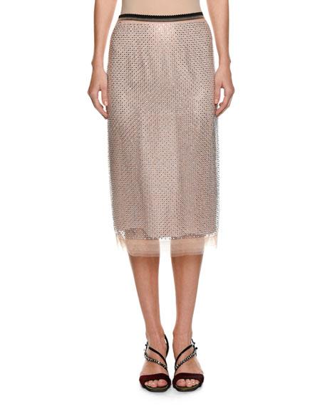 Crystal Embellished Pencil Skirt