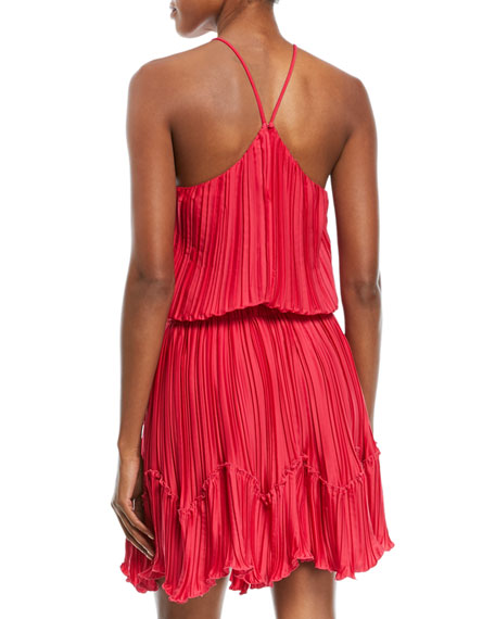 Pleated Flounce Blouson Mini Cocktail Dress