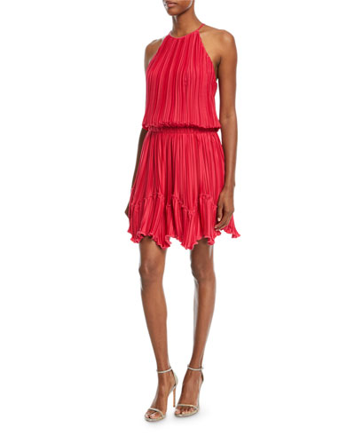 Pleated Flounce Blouson Mini Cocktail Dress