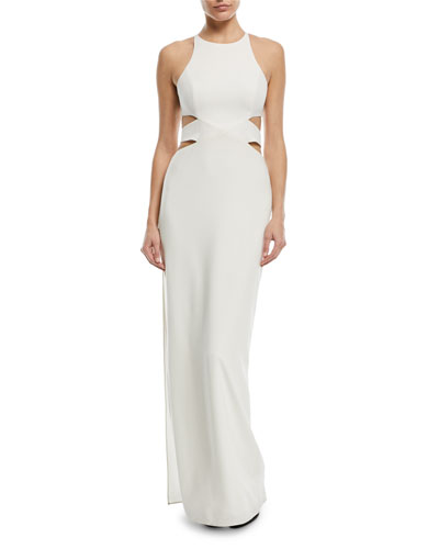 Column Cutout Self-Tie Gown