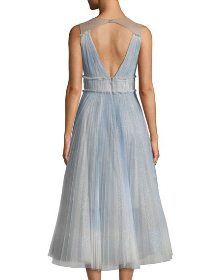 07bc5d04c3 Marchesa Notte Ombré Pleated Tulle Tea-Length Cocktail Dress