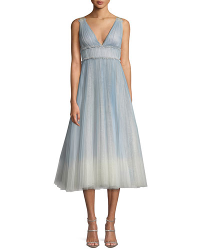 Ombré Pleated Tulle Tea-Length Cocktail Dress