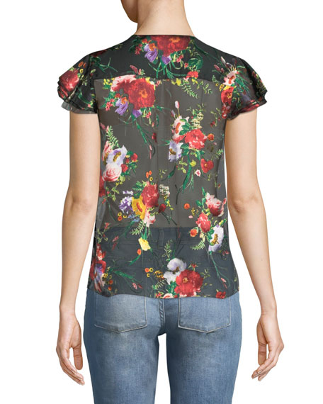 Glady Floral-Print Button-Down Sheer Blouse