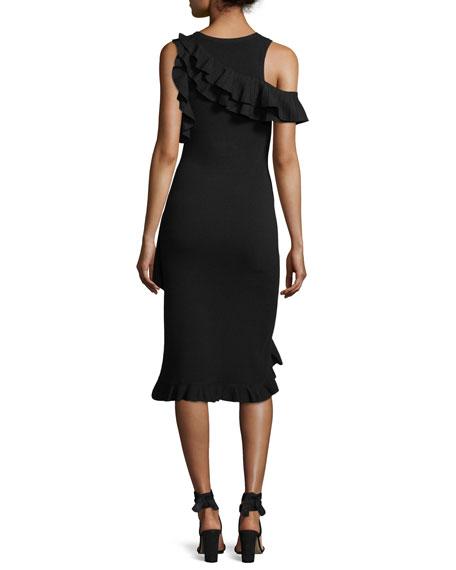 Kellam Crewneck Sleeveless Dress with Ruffled Trim