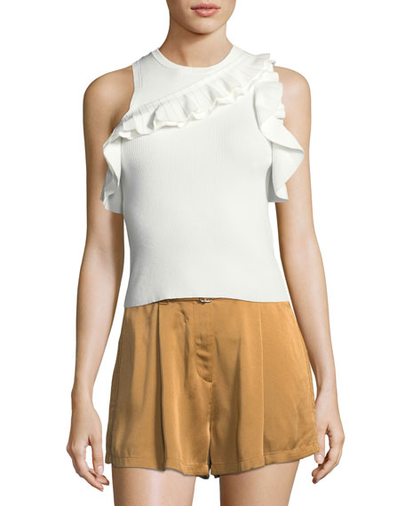 Palmer Sleeveless Rib-Knit Top w/ Ruffled Trim