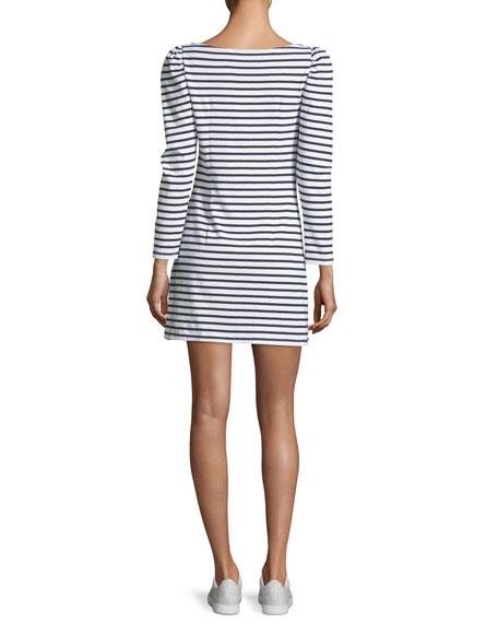 Stevens Boat-Neck Long-Sleeve Striped A-Line Dress