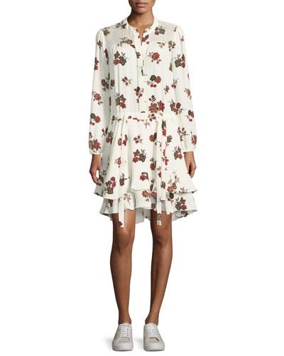Rori Long-Sleeve Drop-Waist Floral-Print Silk Dress