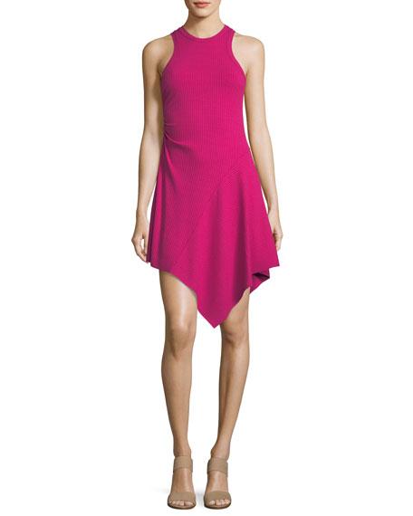Bea Sleeveless Rib-Knit Dress w/ Asymmetric Hem