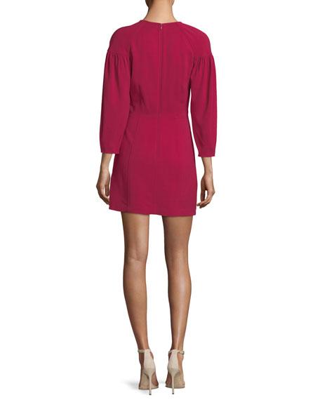 Renton Crewneck Pouf-Sleeve Short Dress