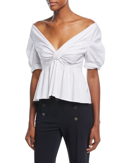 Moritz Off-the-Shoulder Twist-Front Cotton Poplin Top